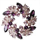 Gold Tone Purple Flowers Floral Wheel Medallion Austrian Crystal Pin Brooch BR94