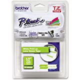 Brother White on Lime Green 12mm (0.47 Inches) Laminated Tape (TZeMQG35) - Retail Packaging