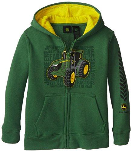John Deere Little Boys' Fleece Zip Hoodie Tractor, Green, 6 front-575916