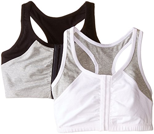 Fruit of the Loom Women's Front Close Racerback , White Grey/Black Grey, 34(Pack of 2) (Fruit Loom Sports Bra compare prices)