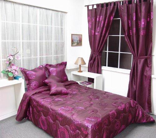 ensemble d co 9 pi ces bordeaux lilas couvre lit matelass 2 personnes taies coussins rideaux. Black Bedroom Furniture Sets. Home Design Ideas