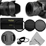 58MM Professional Lens Accessory Kit for CANON Rebel (T5i T4i T3i T3 T2i T1i XT XTi XSi SL1) - Includes: Vivitar Filter Kit (UV CPL ND8) + Filter Pouch + Reversible Tulip Lens Hood + Center Pinch Lens Cap + Cap Keeper Leash + Premium MagicFiber Microfiber