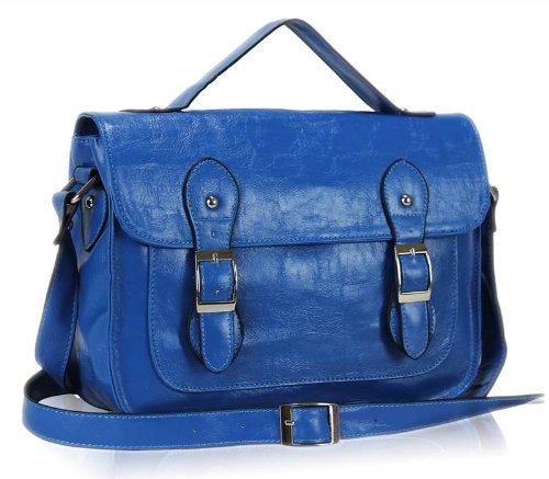 Ladies Womens Vintage Satchel Messenger Shoulder Bag Cross Body Handbag Teal Blue