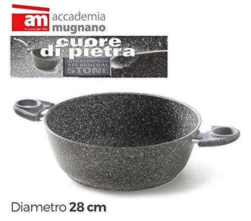 Casseruola semifonda 28cm con 2 maniglie 28cm Accademia Mugnano linea Cuore di Pietra Mineral Stone. MWS