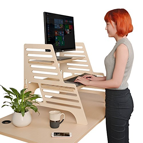 thundesk height adjustable standing desk with lapdesk