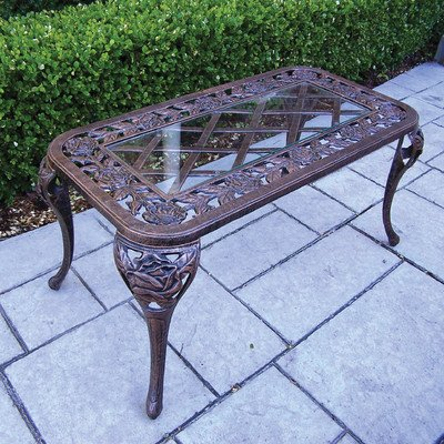 Oakland Living Tea Rose Cast Aluminum Cocktail Table, Antique Bronze