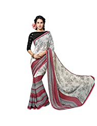 Ethnic Station Cream Lace Work Saree - B00QYJULOG
