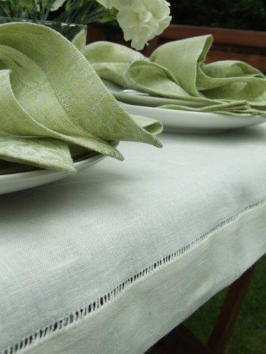 Linenme Tischdecke Diana, Leinen, handgefertigt, 140 x 140 cm, gebrochenes Weiß