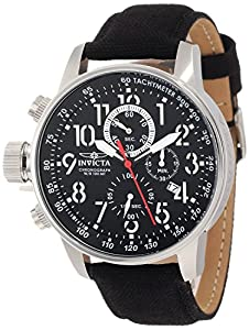 """Invicta Men's 1512 I """"Force"""" Stainless Steel Watch with Cloth and Leather Strap"""