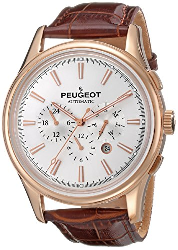 Peugeot Automatic MK910RBR Men's Rose Gold Stainless Steel Multifunction Brown Leather Watch