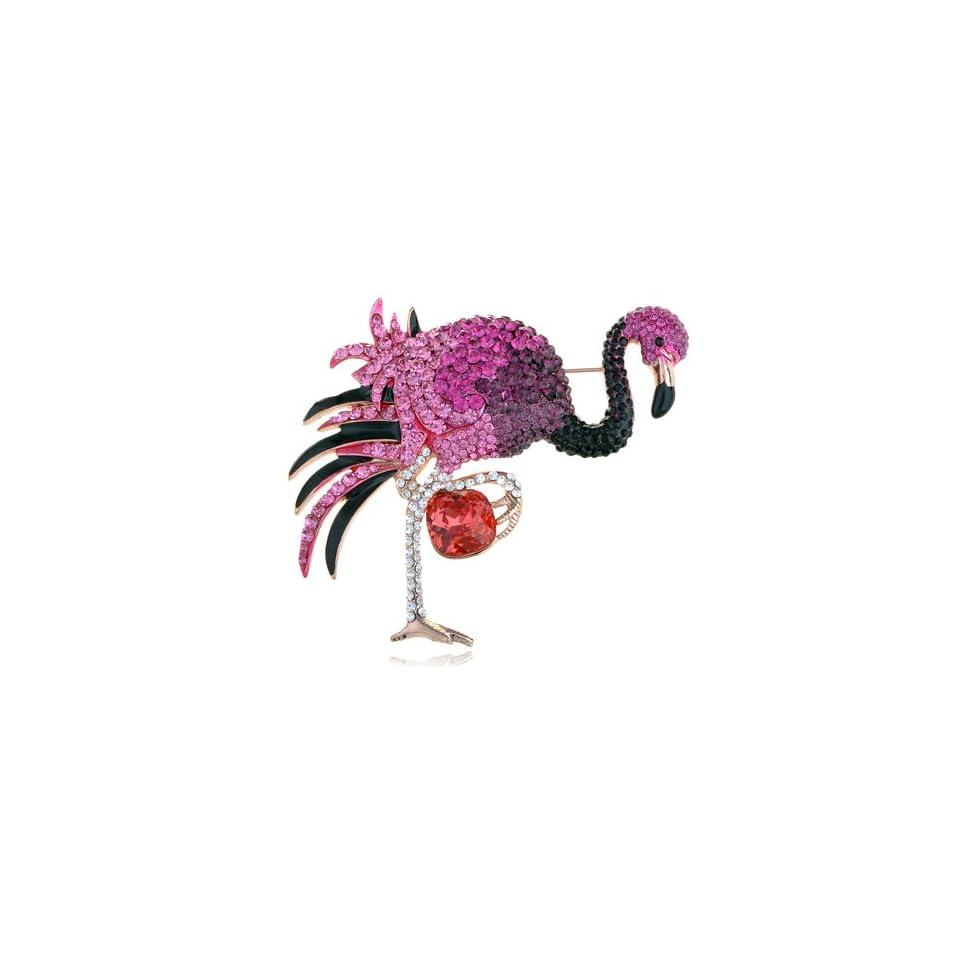 Gold Tone Fuchsia Rose Swarovski Crystal Rhinestone Element Flamingo Pin Brooch