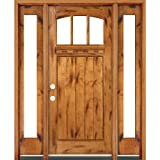 Classic Estate Doors CB74151-12SL-CB-PA-RH 12-Inch Arch Top Three-Light Door with Sidelights, Right Hand Swing and Prefinished Knotty Alder