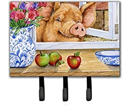 Caroline\'s Treasures CDCO0352TH68 Pig Trying To Reach The Apple In The Window Leash Or Key Holder, Triple, Multicolor