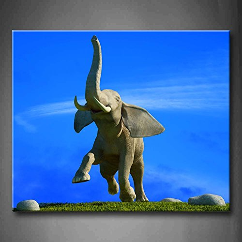 Blue Elephant Runs Slack Off Against The Blue Sky Grassland Three Big Stones Wall Art Painting The Picture Print On Canvas Animal Pictures For Home Decor Decoration Gift (Stretched By Wooden Frame,Ready To Hang)
