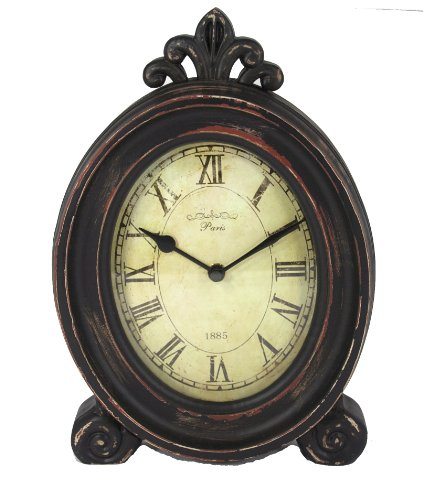 Wood Table Top Clock with Fleur de Lys and Antique Finish