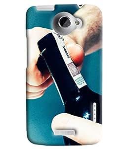 Blue Throat Vodka Bottle Printed Designer Back Cover/Case For HTC One X