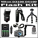 Flash Bundle Kit For Nikon D3100 D5100 Digital SLR Camera Includes DF-383 Dedicated TTL Bounce And Zoom Flash Includes Flash Diffuser + Off Camera Shoe + Flash Bracket + 4AA High Capacity Rechargeable NIMH Batteries And AC/DC Charger + Gripster Tripod