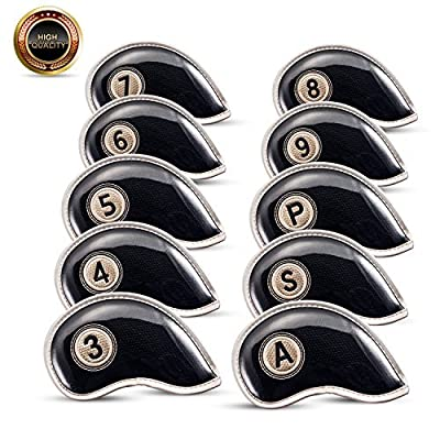 Golf Iron Head Covers Set Durable Club Head Cover Water-resistant Material with Velcro Lock-in Design Fit All Brands (Titleist Callaway Ping TaylorMade Nike Yamaha Cleveland Wilson Reflex) Set of 10