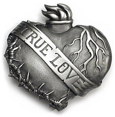 Buy TRUE LOVE BANNER Belt Buckle Flaming Heart Sweetheart