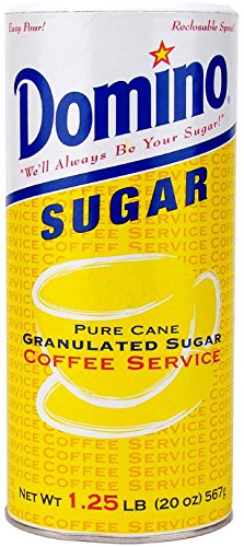 Domino Pure Cane Granulated Sugar. 20-Ounce Easy Pour Reclosable Top Canister (Pack of 1)