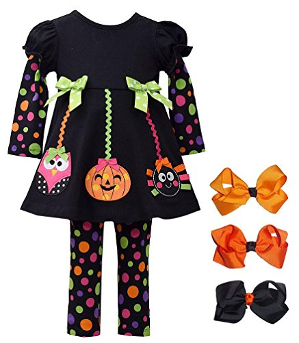 Baby Girls' Halloween Ornaments 2-pc Leggings outfit + set of 3 Hair Bows