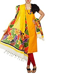 Unnati Silks Women Unstitched yellow-red pure Andhra khadi cotton salwar kamiz dress material