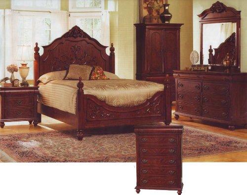 Queen Size Bedroom Set Oak Finish Bed Room Wood Dresser