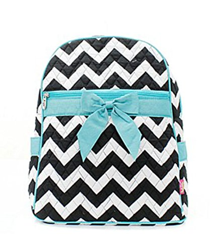 Quilted Black And White Chevron Medium Backpack With Aqua Accents
