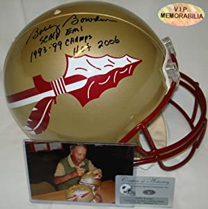 Bobby Bowden Hand Signed Florida State Seminoles Authentic Career Stat Proline Helmet by VIP+Memorabilia