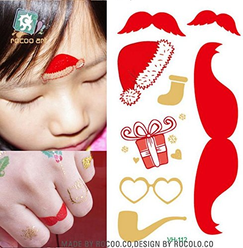 [NEW! 4pcs Tattoo Body Temporary Sticker Removable Waterproof Christmas] (Redneck Costume Ideas)