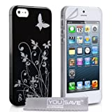 iPhone 5 Floral Butterfly Hard Case - Black / Silverby Yousave Accessories