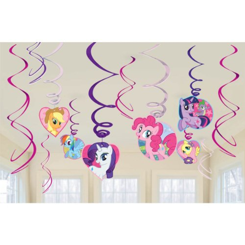 My Little Pony Party Foil Hanging Swirl Decorations / Spiral Ornaments (12 PCS)- Party Supply, Party Decorations - 1