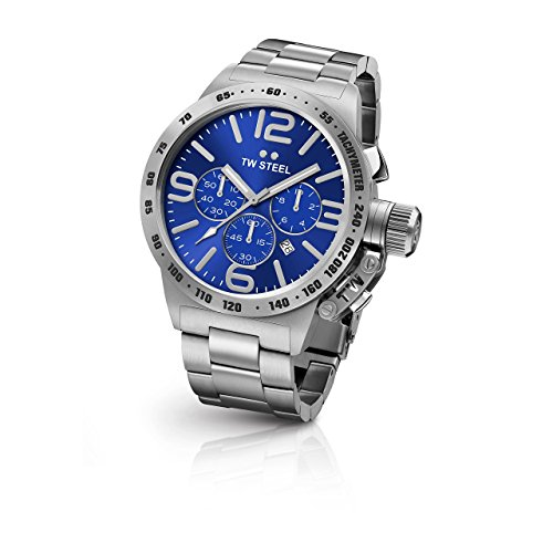 17ba1044e TW Steel CB14 Men's Canteen Bracelet Silver Band Blue Dial Watch