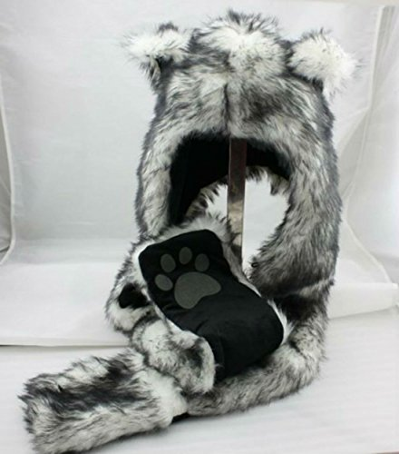 White Wolf Anime Spirit Paws Ears Faux Animal Hood Hoods Mittens Gloves Scarf Zipper