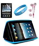 Black-Blue Color Semi Hard Carrying Case for Apple ipad + Pink Handsfree Earphone with Screen Protector for ipad + Wristband