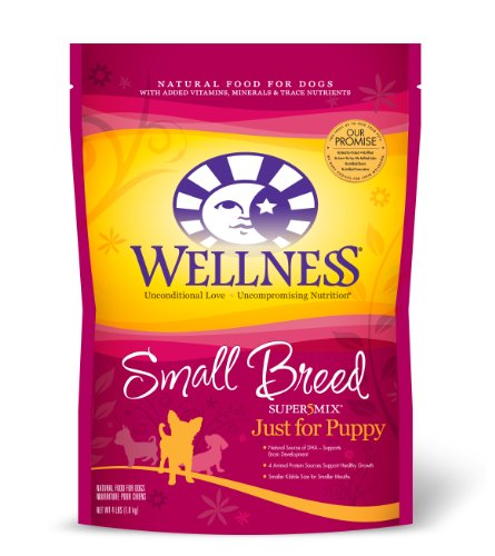 Wellness Super5Mix Dry Dog Food for Small Breed Dogs, Just for Puppy Recipe, 4 lb. Bag