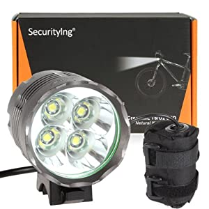 SecurityIng® 4800Lm 4X CREE XM-L T6 LED Bicycle Light + 6400mAh Rechargeable... by SecurityIng