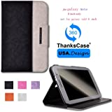 Thankscase Samsung Galaxy Note 8.0 Wallet Rotating Case Cover with Hand Strap with Smart Cover Function,Ultra Slim Lightweight Smart shell Standing Pocket Cover Case for Samsung Galaxy Note 8.0 N5100/N5110.(BLACK)