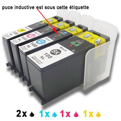 5x (2xShwarz, 1xCyan, 1xMagenta, 1xGelb) Druckerpatronen komp. für Lexmark 100 100XL S301 S305 S405 S505 S605 S308 S408 S508 S608?S815 S816 Pro205 Pro705 Pro805 Pro905 Pro208 Pro708 Pro808 Pro908 Pro901