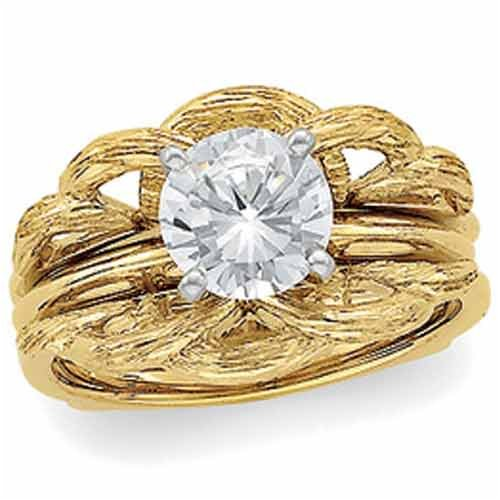 14Kt. Yellow Gold. Stylish Ring Guard Enhancer (Center ring is NOT INCLUDED)