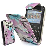 GLITZY GIZMOS TURQUOISE FLOWER PU LEATHER FLIP CASE COVER POUCH FOR SAMSUNG CHAT CH@T335 S3350