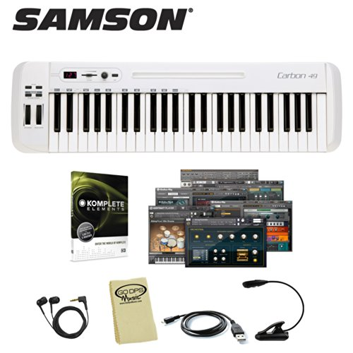Samson Carbon 49 Usb Midi Controller Keyboard (Sakc49) Includes: Usb Cord, Headphones, Mighty Bright Music Light, Godpsmusic Cloth & Native Instruments Komplete Elements 8 Software