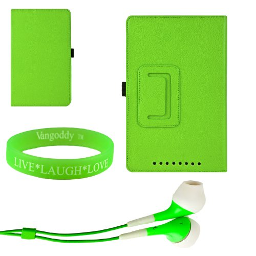 Sophisticated And Convenient And Non Bulky Lime Green Portfolio Stand Case For The Nexus 7 With A Slide In Pocket + Green Earphones + Vangoody Wristband
