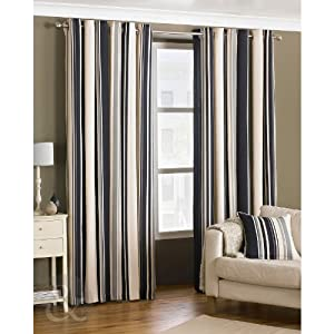 Ready Made Striped Eyelet Curtains Fully Lined Cream Natural Coffee Curtain Pair Coffee Cream