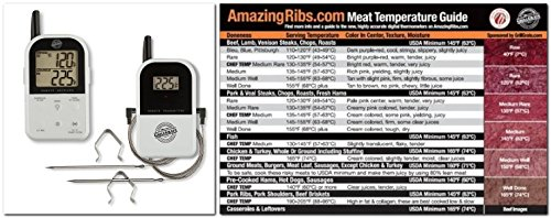 White Grill Grate Grillgrate Et732 Long Range Wireless Dual 2 Probe Bbq Smoker Meat Thermometer Set - Monitor Your Grill From Up To 300 Feet Away With Original Meathead Temperature Magnet Guide