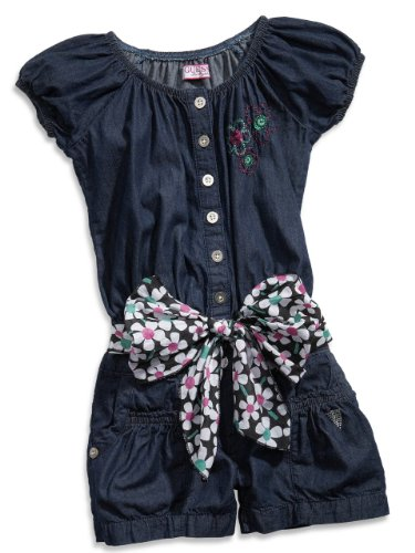 GUESS Kids Girls Little Girl Romper with Sash, INDIGO (4)