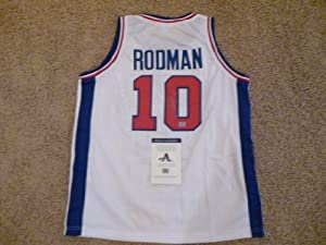 DENNIS RODMAN SIGNED AUTO DETROIT PISTONS WHITE JERSEY AAA AUTOGRAPHED by Sports Memorabilia