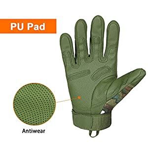 E-PRANCE® Breathable Military Equipment Full Finger Tactical Gloves with Foam Knuckle Protection for Hunting Climbing Riding Color Green Size M from CHINA PRANCE INDUSTRIAL CO.,LTD