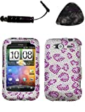 Mobile accessories HTC Wildfire S (CDMA) Leopard Skin Purple Full Diamond Bling Protector Cover Design Snap Faceplate AND HiShop(TM) Stylus, Guitar Pick/Pry Tool