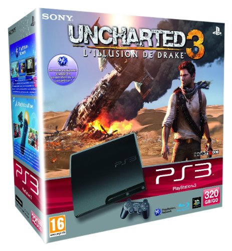 Console PS3 320 Go noire + Uncharted 3 : l'illusion de Drake
